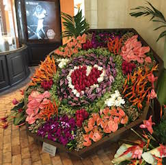 The replica of the Barbados Horticultural Society's award-winning floral exhibit at Limegrove